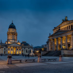 Berlin Gendarmenmarkt by night. Schauspielhaus (Theatre) is on the right, Deutscher Dom (German dome) on the left. On of the most beautiful places in Europe, for sure.