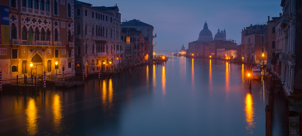 Venice. Dawn view from Ponte dell Academia over the Canale Grande.