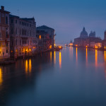 Venice lights. Dawn view from Ponte dell Academia